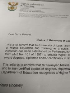 Academic qualification verification letter with apostille