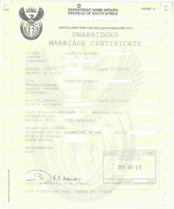 Unabridged Marriage Certificate sample