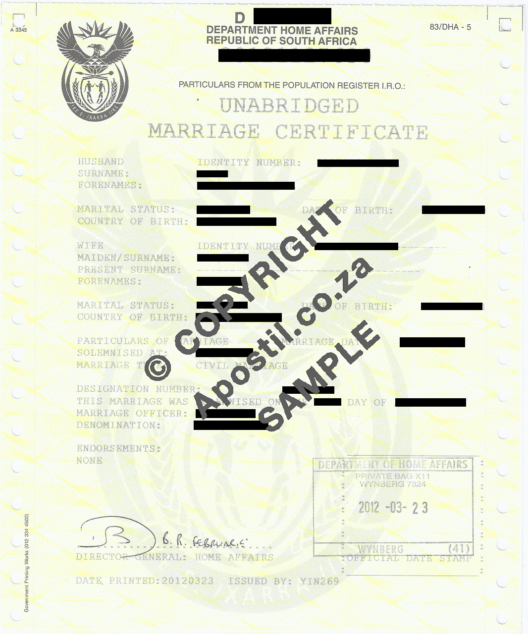 Unabridged Marriage Certificate | Apostilles and Police