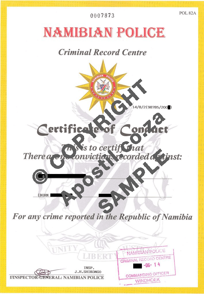 Namibian Police Clearance or Certificate of Conduct