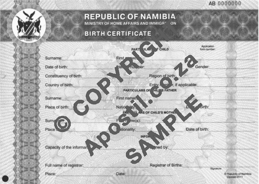 Namibian Birth Certificate Apostilles And Police Clearances For