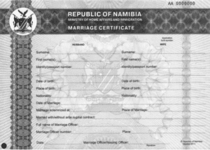 Namibian Marriage Certificate example
