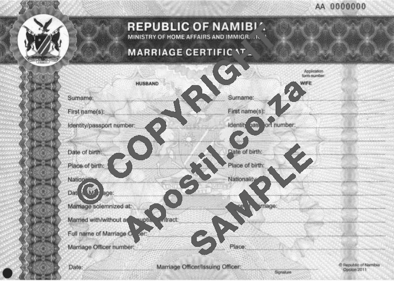 Namibian Marriage Certificate | Apostilles and Police