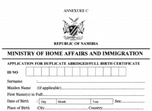 Namibian birth certificate