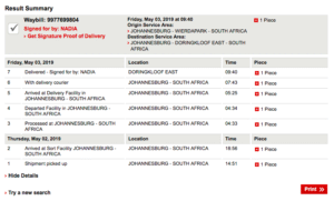 DHL tracking number for couriering South African documents