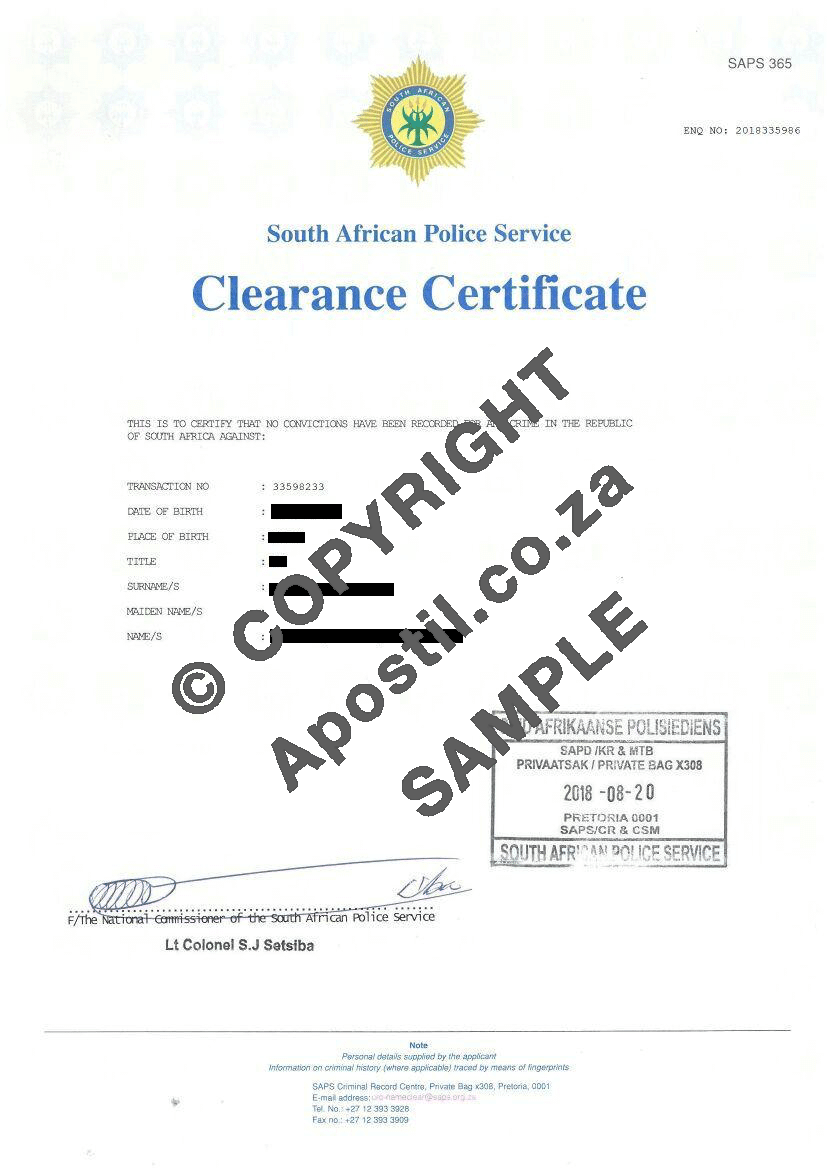 Police Clearance South Africa | 5-15 days | SAPS Police