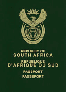 South African passport cover