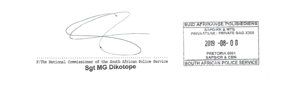 SAPS Police Clearance South Africa signature and stamp