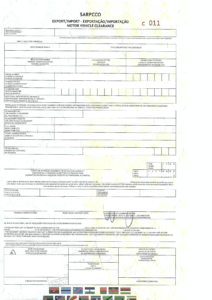 SARPCCO Import-Export Motor Vehicle Clearance Certificate