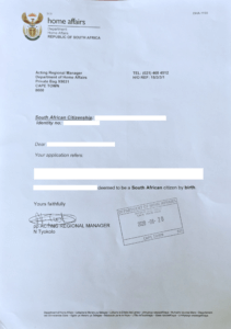 Determination of South African Citizenship example letter
