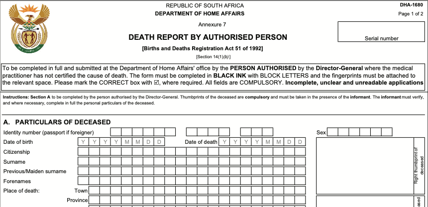 Example South African Death Report DHA-1680