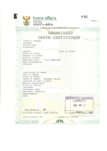 Unabridged Death Certificate South Africa example