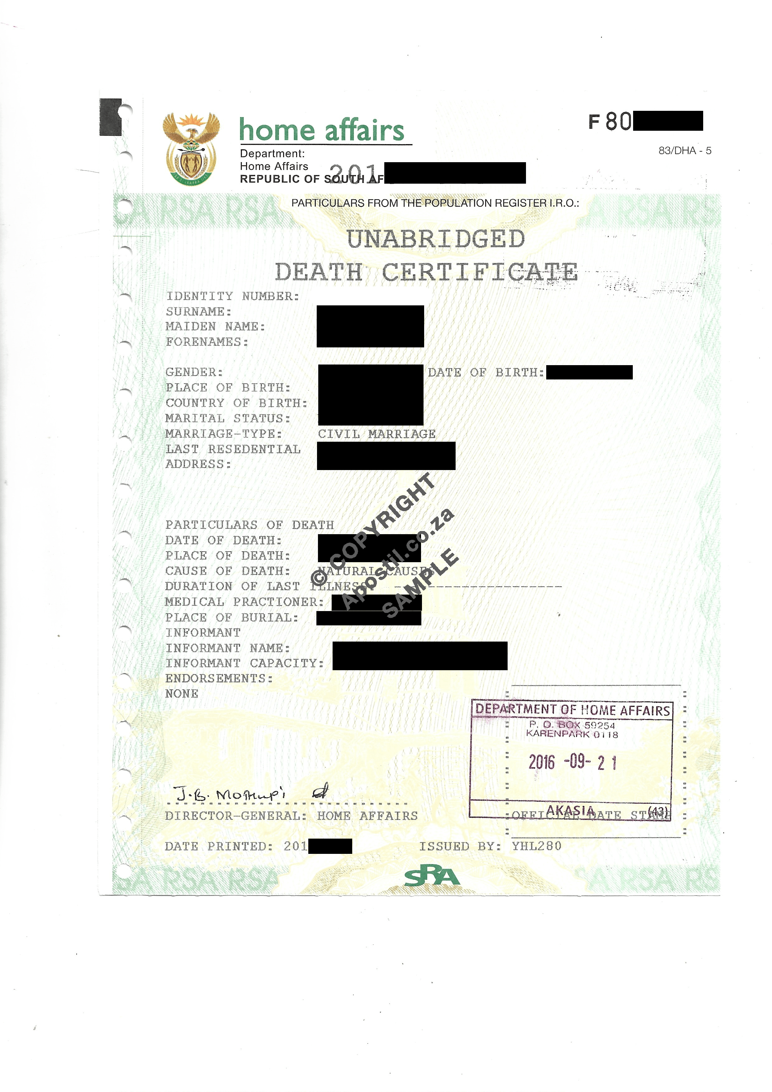 South African Death Certificate  Apostilles and Police Clearances For Fake Death Certificate Template