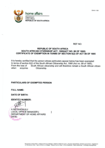 Retention of Citizenship Letter South Africa example DHA-1155