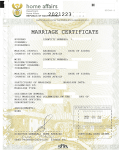 Unabridged Marriage Certificate New Format Home Affairs South Africa